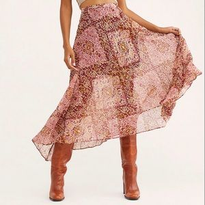 Free People Diamond Heart Maxi pleated skirt